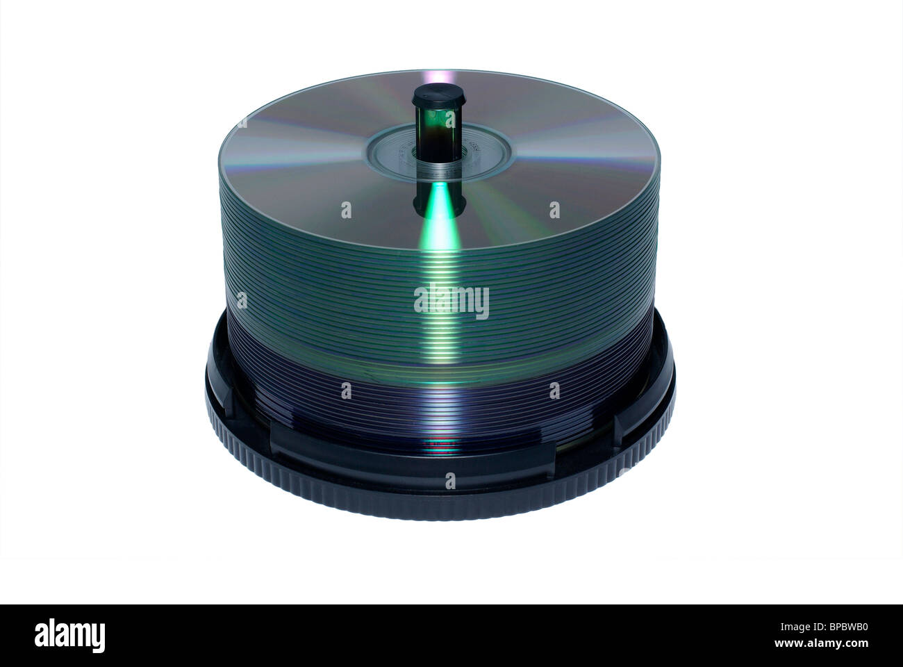 Stack of blank DVD and CD discs isolated on white background. - Stock Image
