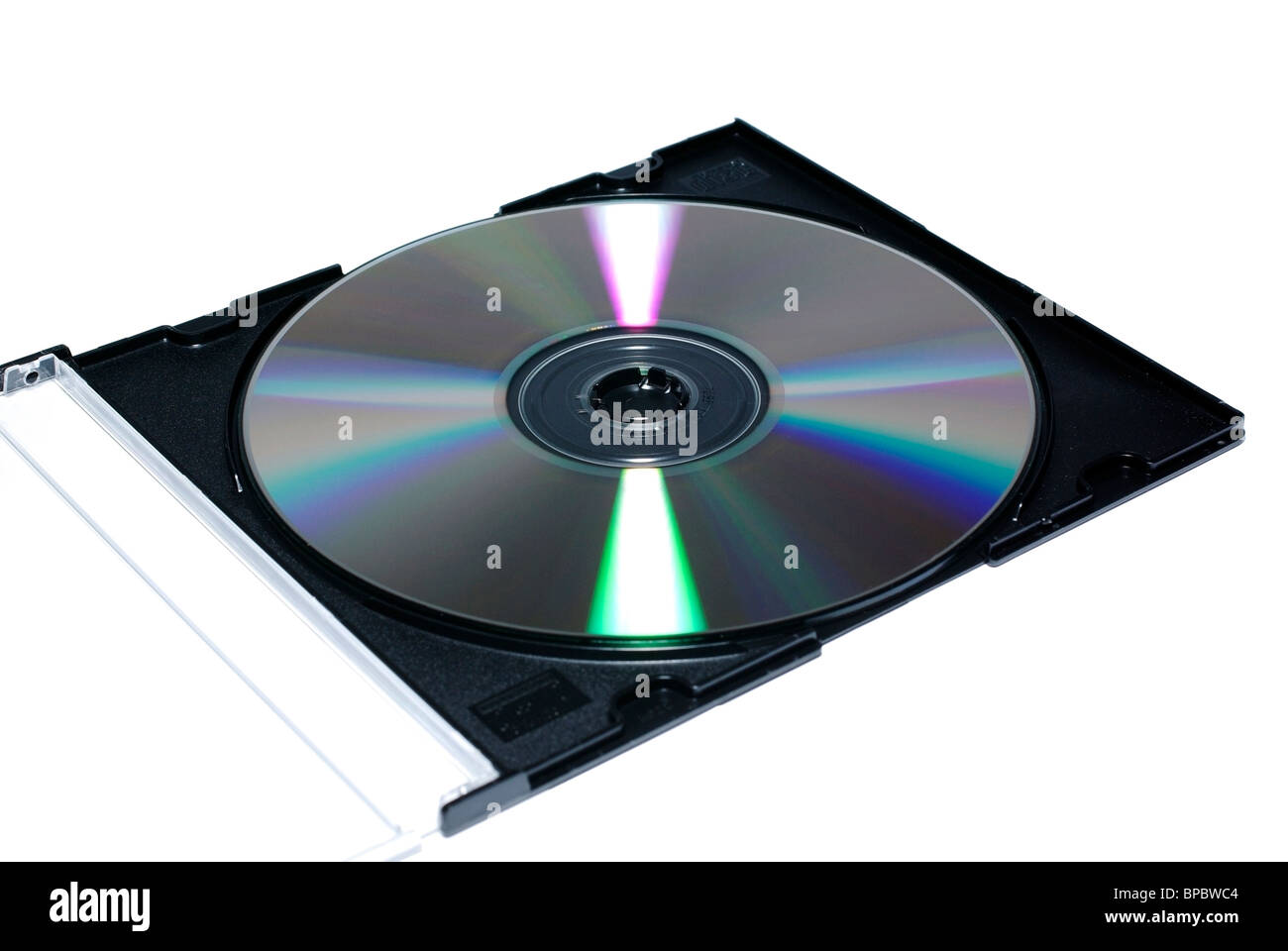 Opened jewel case with recordable disc. Isolate on white. - Stock Image