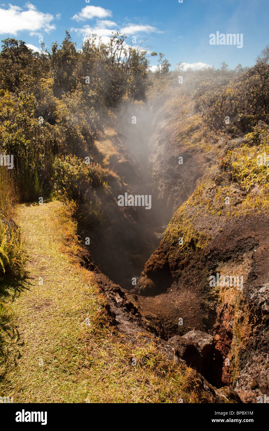 Steam flowing from a volcanic fissure on the Big Island of Hawaii - Stock Image