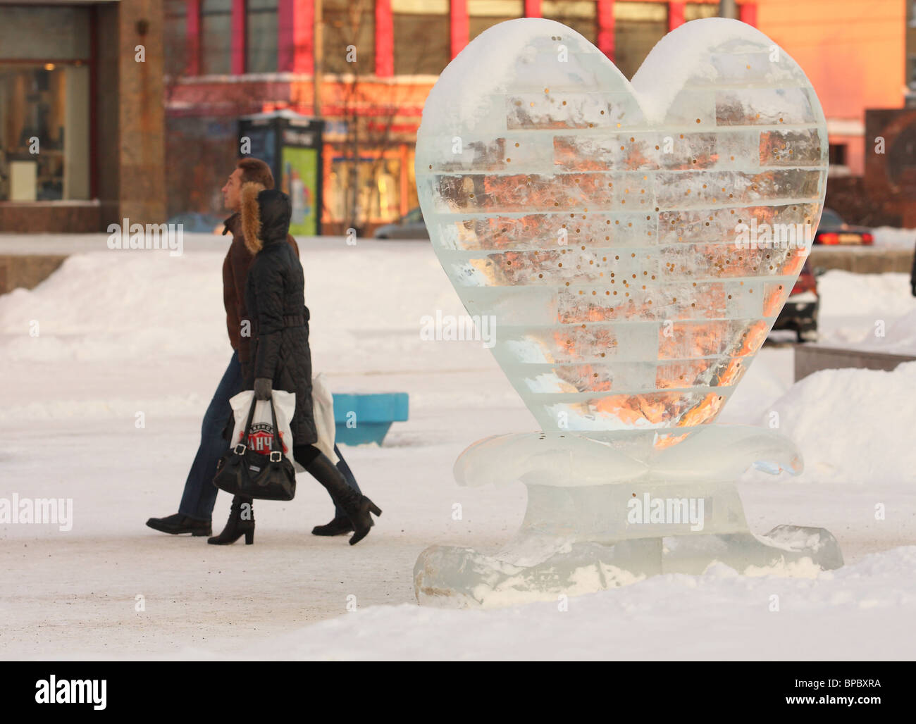 Sculpture in the form of ice heart. - Stock Image