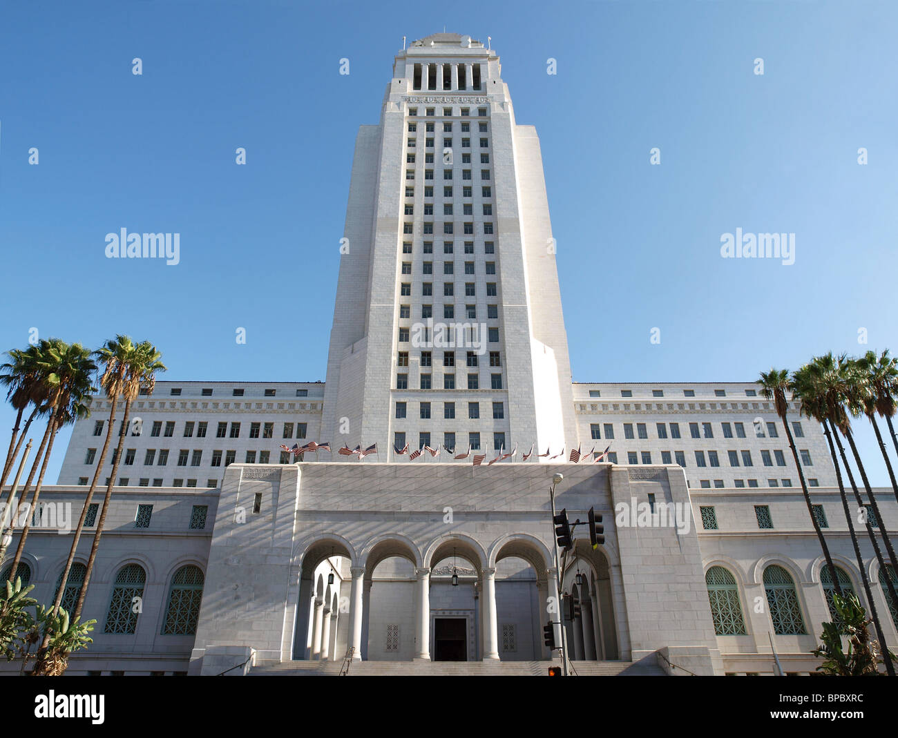 Los Angeles City Hall - Spring Street entrance. - Stock Image