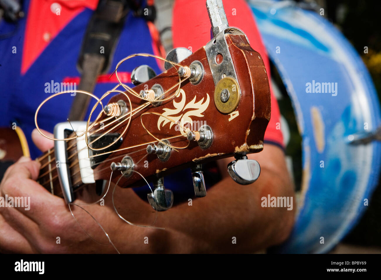 Headstock a stock photos headstock a stock images alamy a one man band sings and plays in warrington town centre during their historic car event malvernweather Image collections