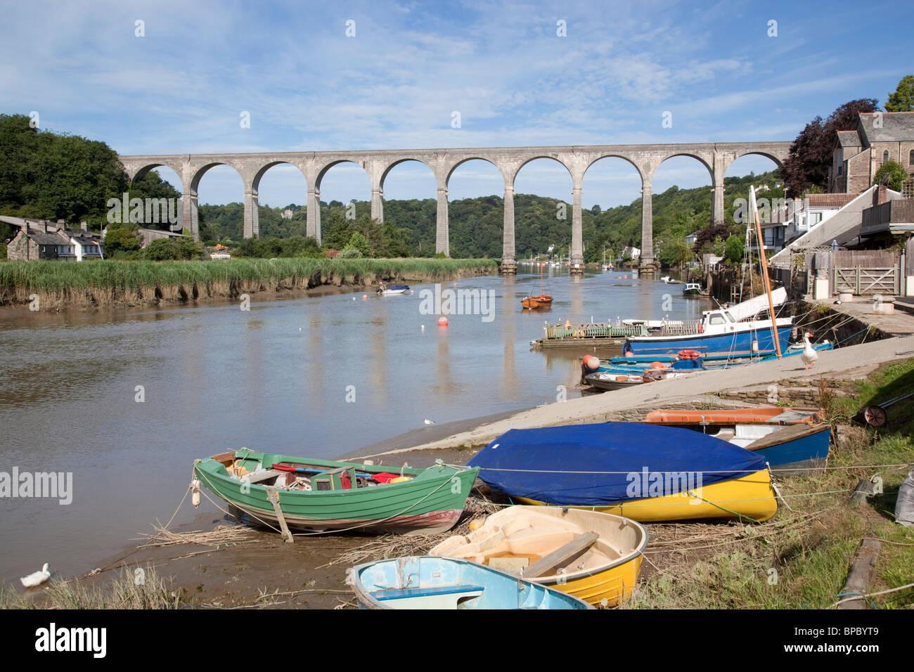 Calstock; railway bridge crossing the river Tamar; Cornwall Stock Photo