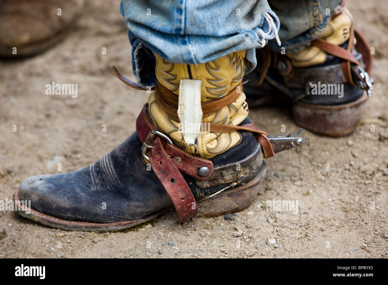Close-up of cowboy's boots and spurs, Chaffee County Fair & Rodeo - Stock Image