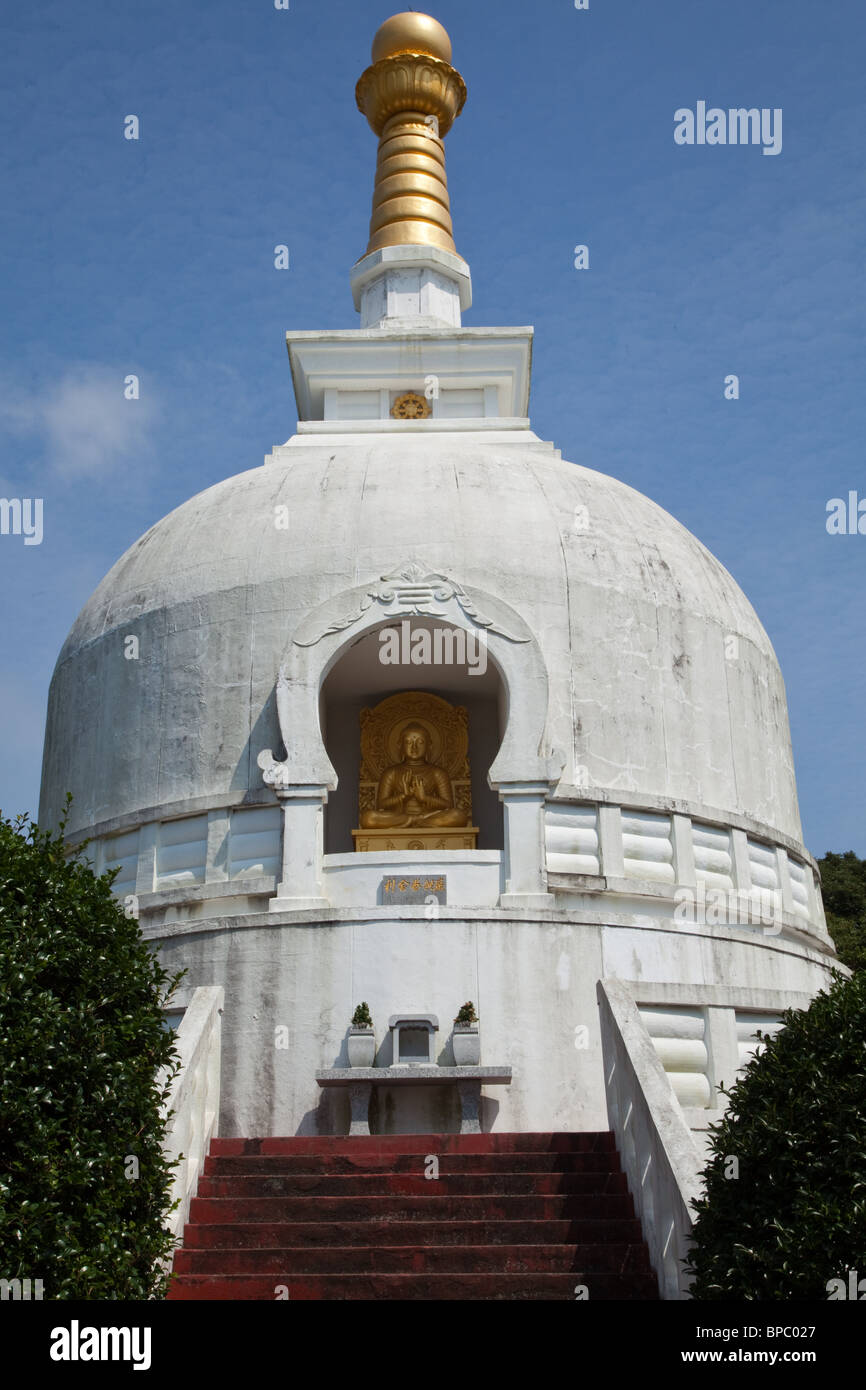 Ryukoji Temple's white Bussharito contains Buddha's ashes or Busshari. - Stock Image