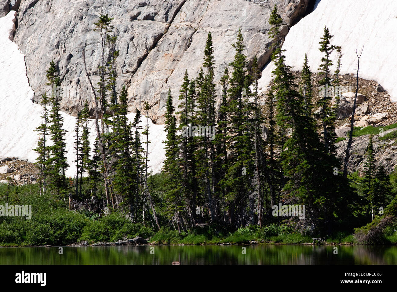 Colorado sunrise hiking in Rocky Mountain National Park near Estes Park, evergreen trees on banks of Lake Helene. - Stock Image