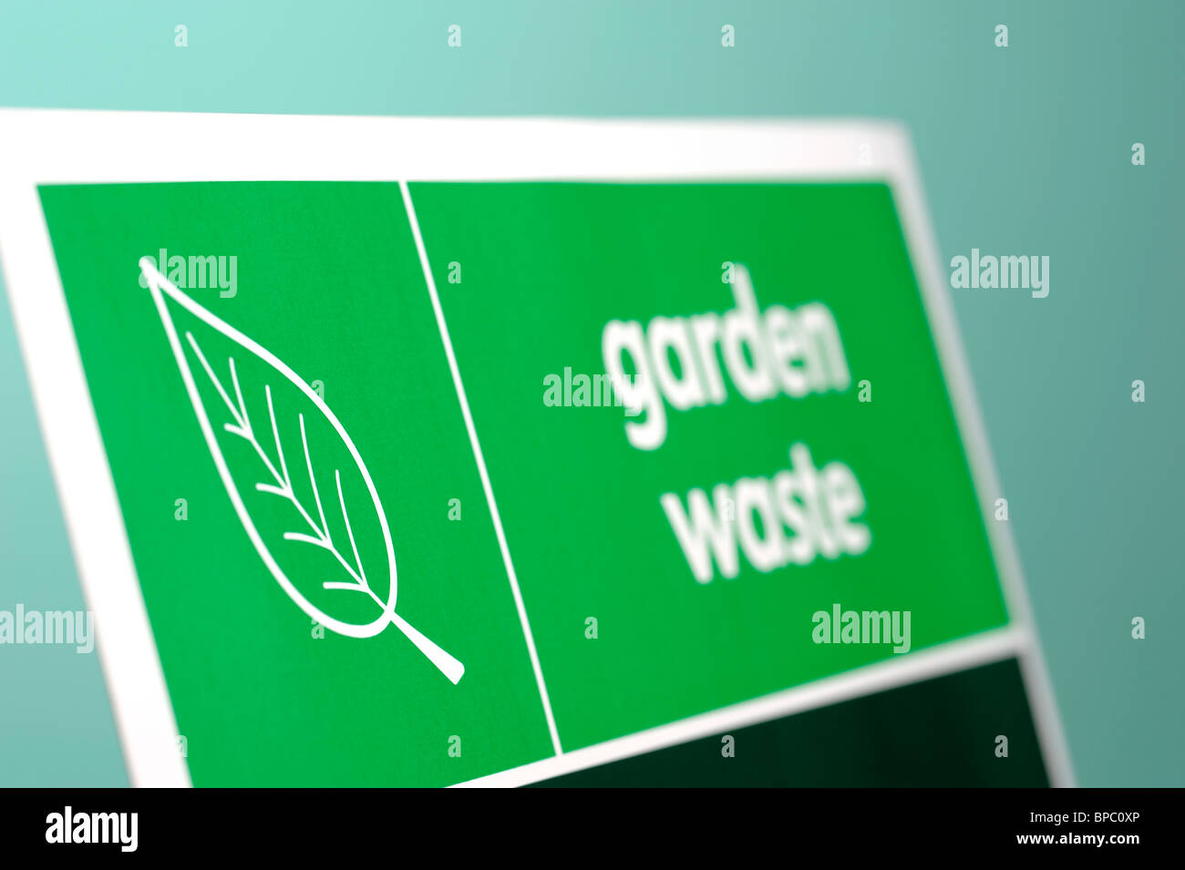 Green Garden Waste sign - Stock Image
