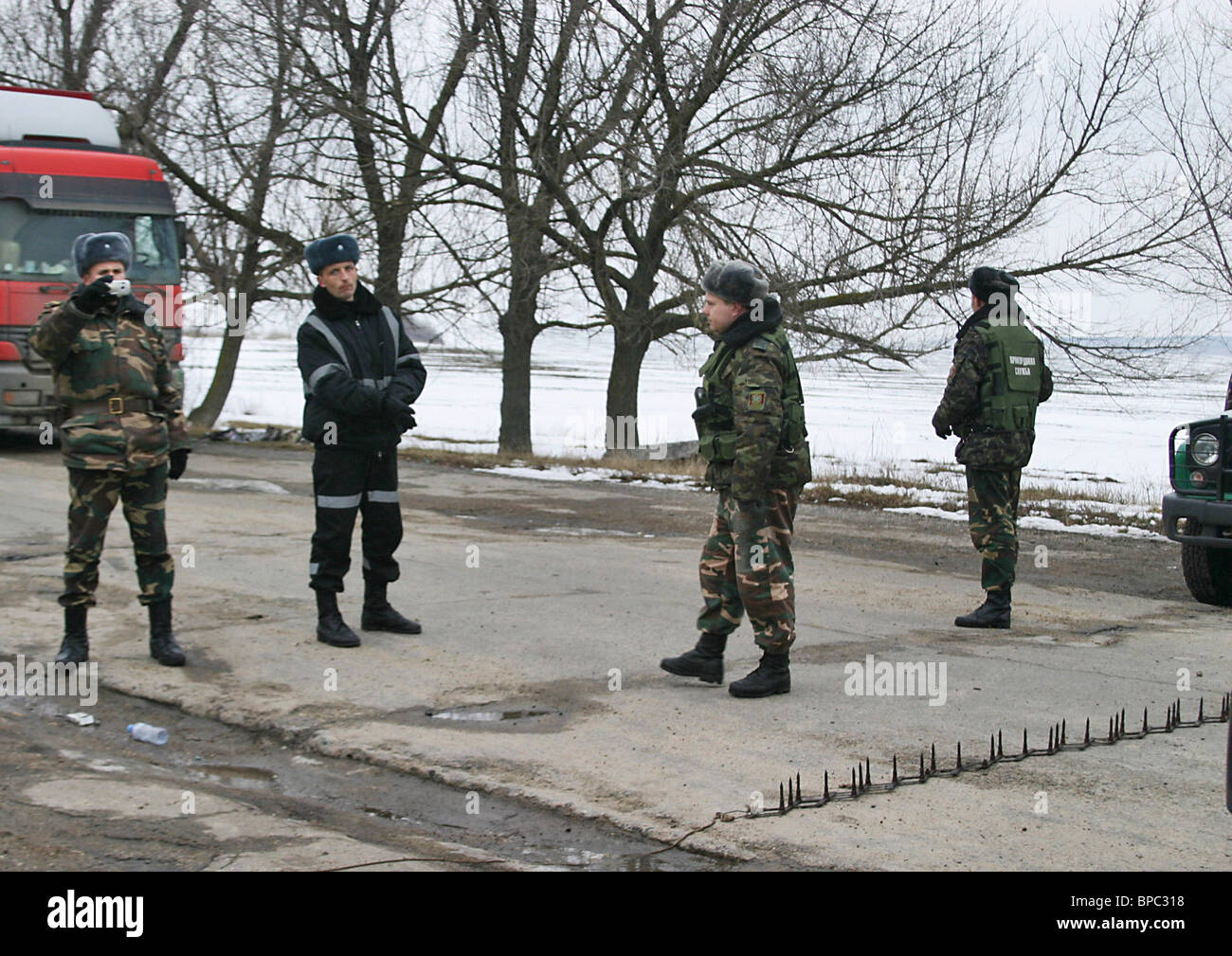 Customs row drags on on Moldovan-Ukranian border - Stock Image