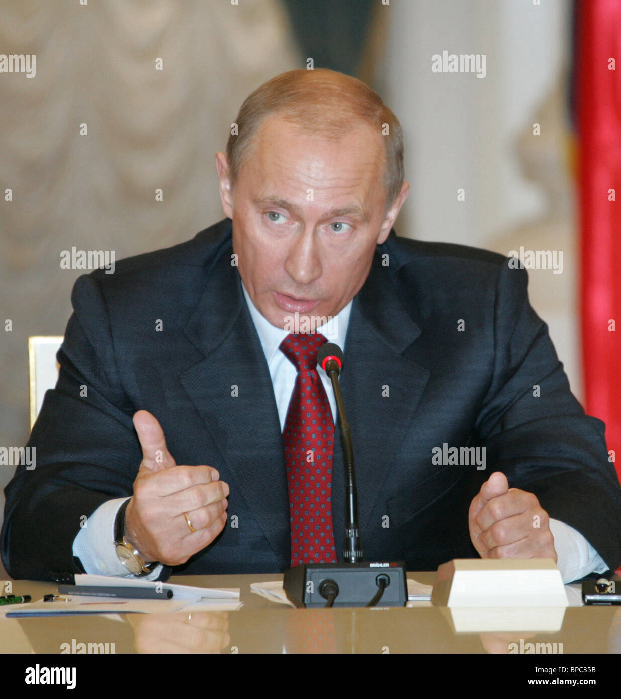 Russian President Vladimir Putin holds number of meetings March 16, 2006 Stock Photo