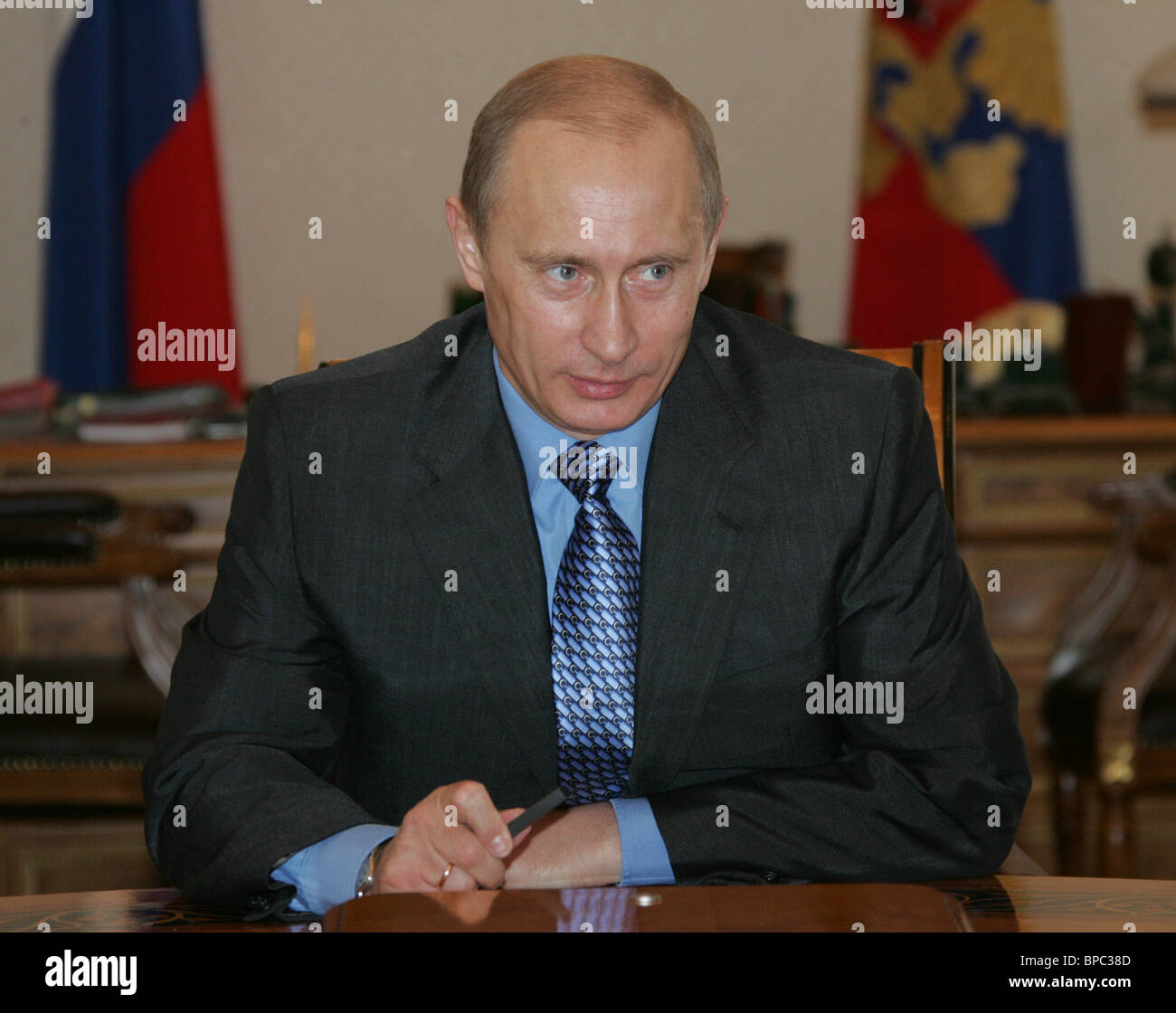 President Vladimir Putin chairs a meeting with Security Council members March 25, 2006 - Stock Image