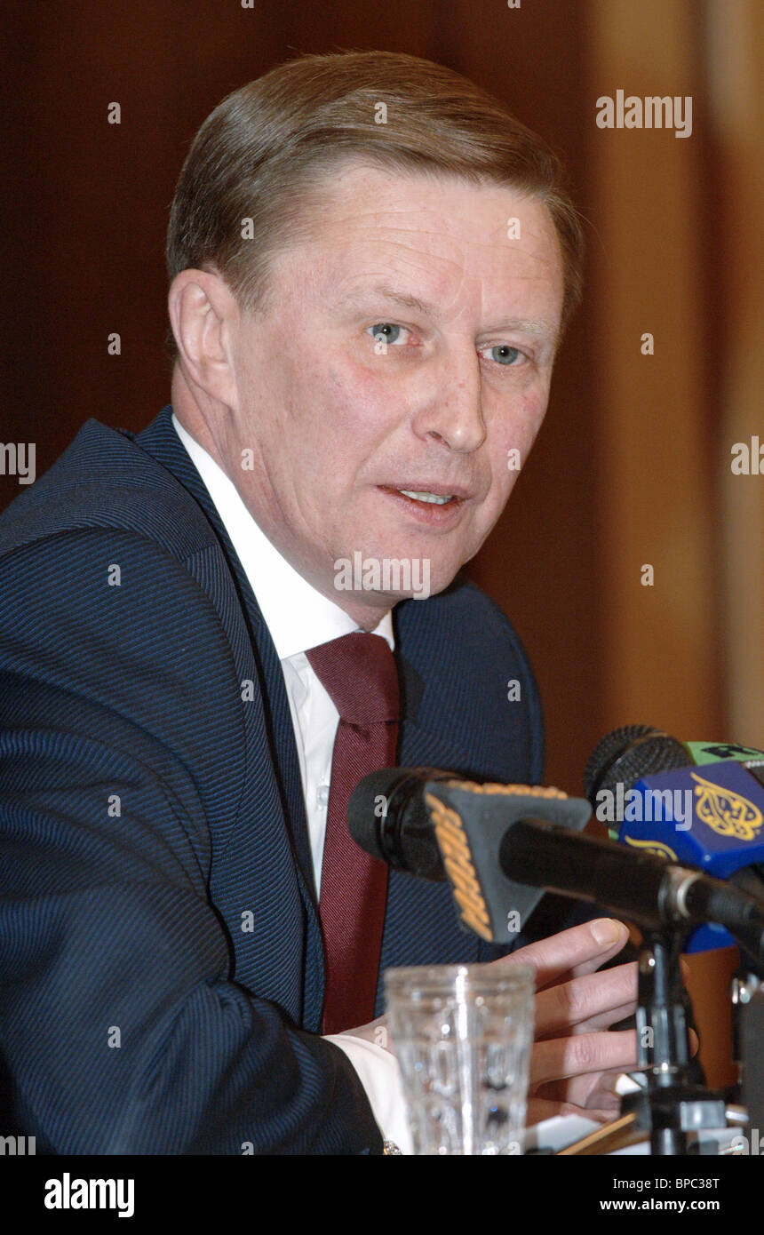 Russiaїs Vice-Premier and Defence Minister Sergei Ivanov holds press conference - Stock Image