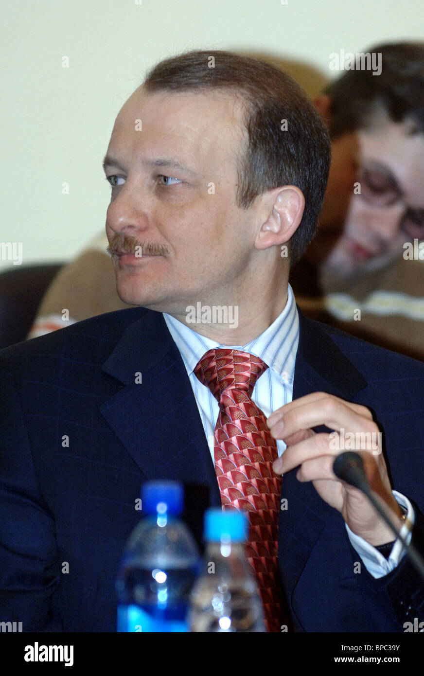 Round Table on їWhen and on what to spend budget of Stabilization Fund ї one year laterї held in Moscow - Stock Image