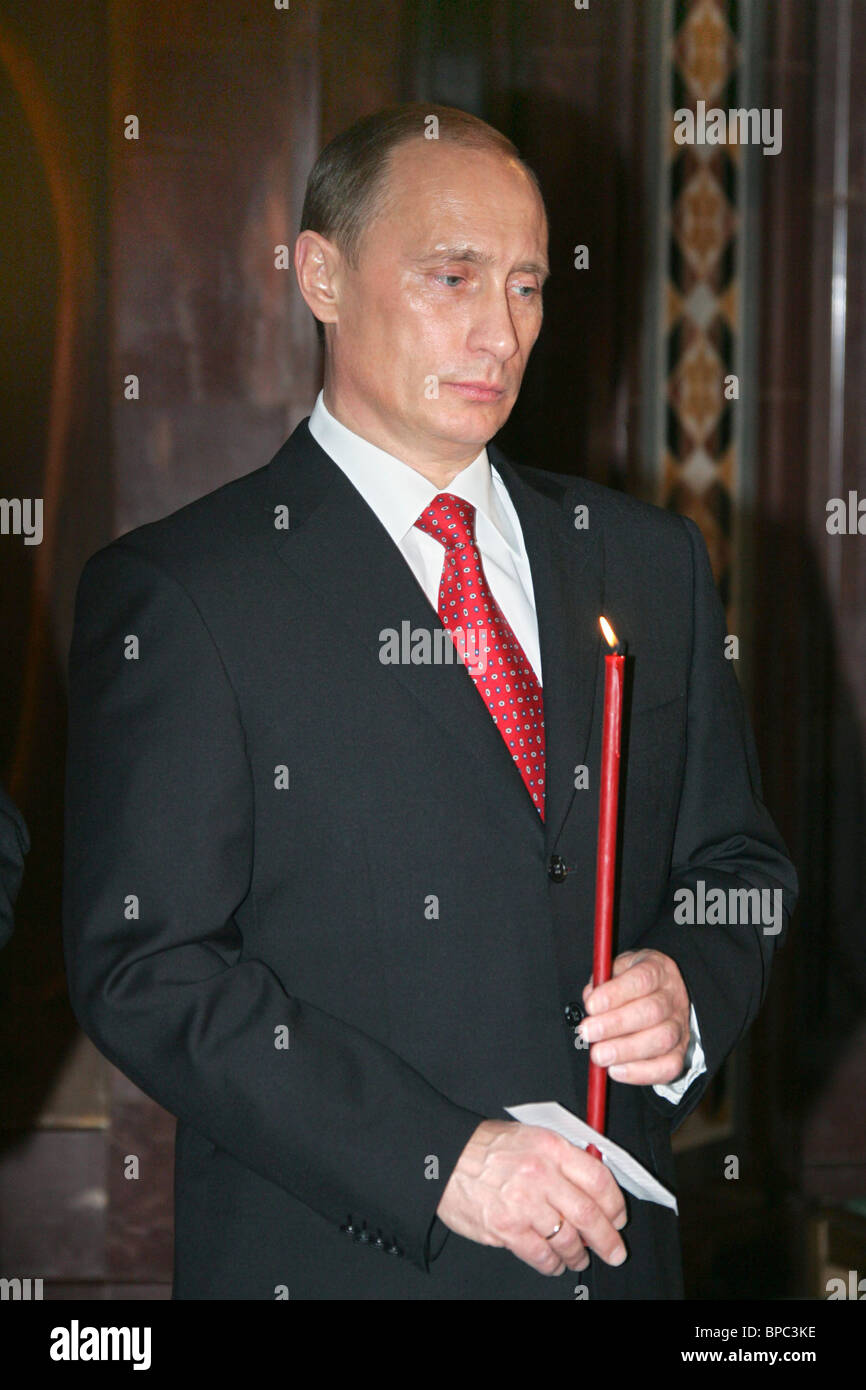 Russian President Vladimir Putin attends midnight Easter service at Christ the Savior Cathedral - Stock Image
