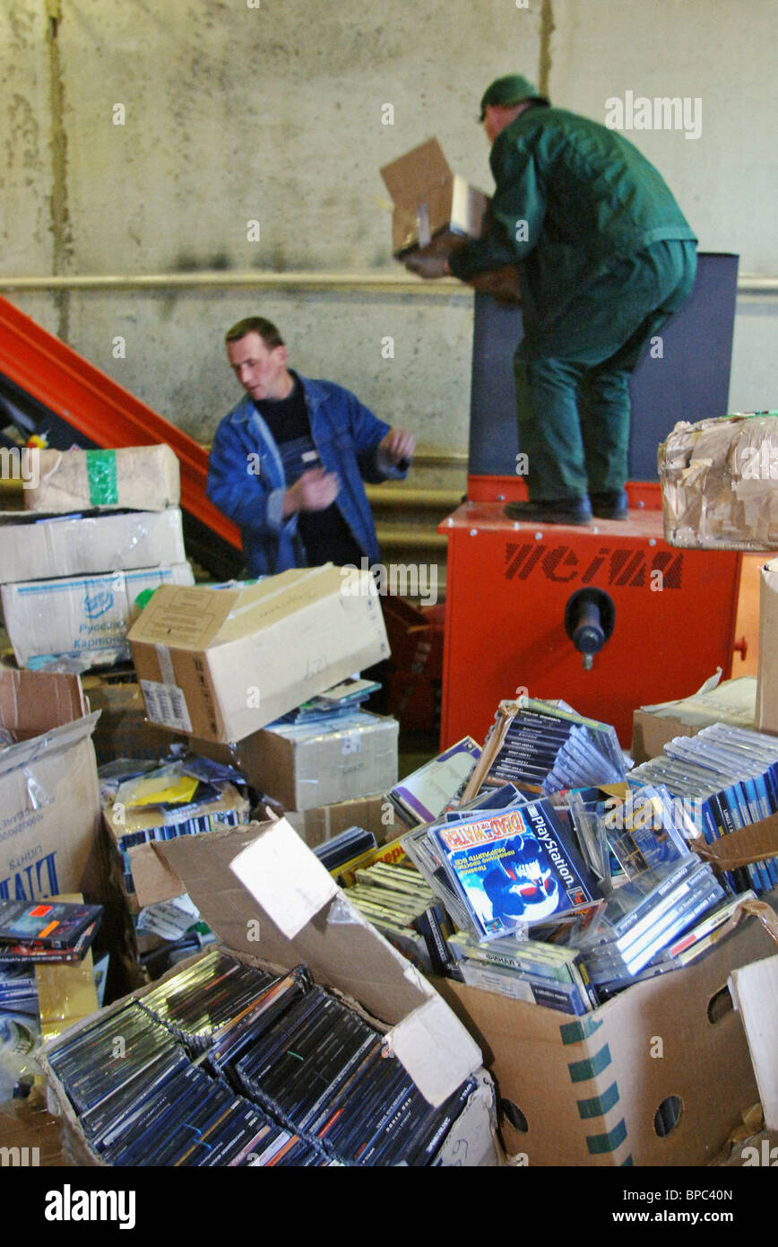 Public event to destroy pirate CDs takes place in Moscow Region - Stock Image