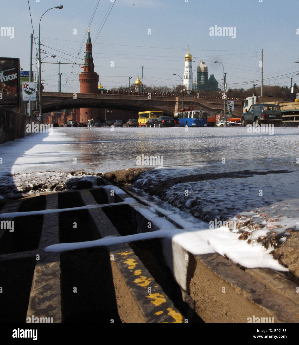 Moscow's municipal services cleanse road surfaces with special washing liquid 'Chistodor' - Stock Image