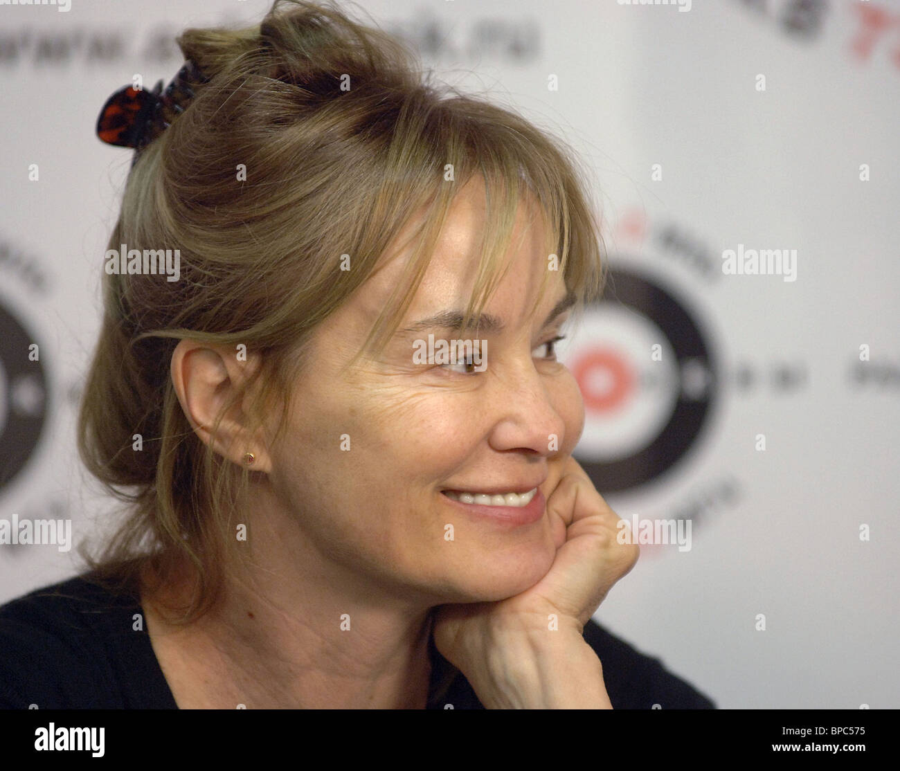 Hollywood actress Jessica Lange speaks in live interview on Echo of Moscow Radio - Stock Image