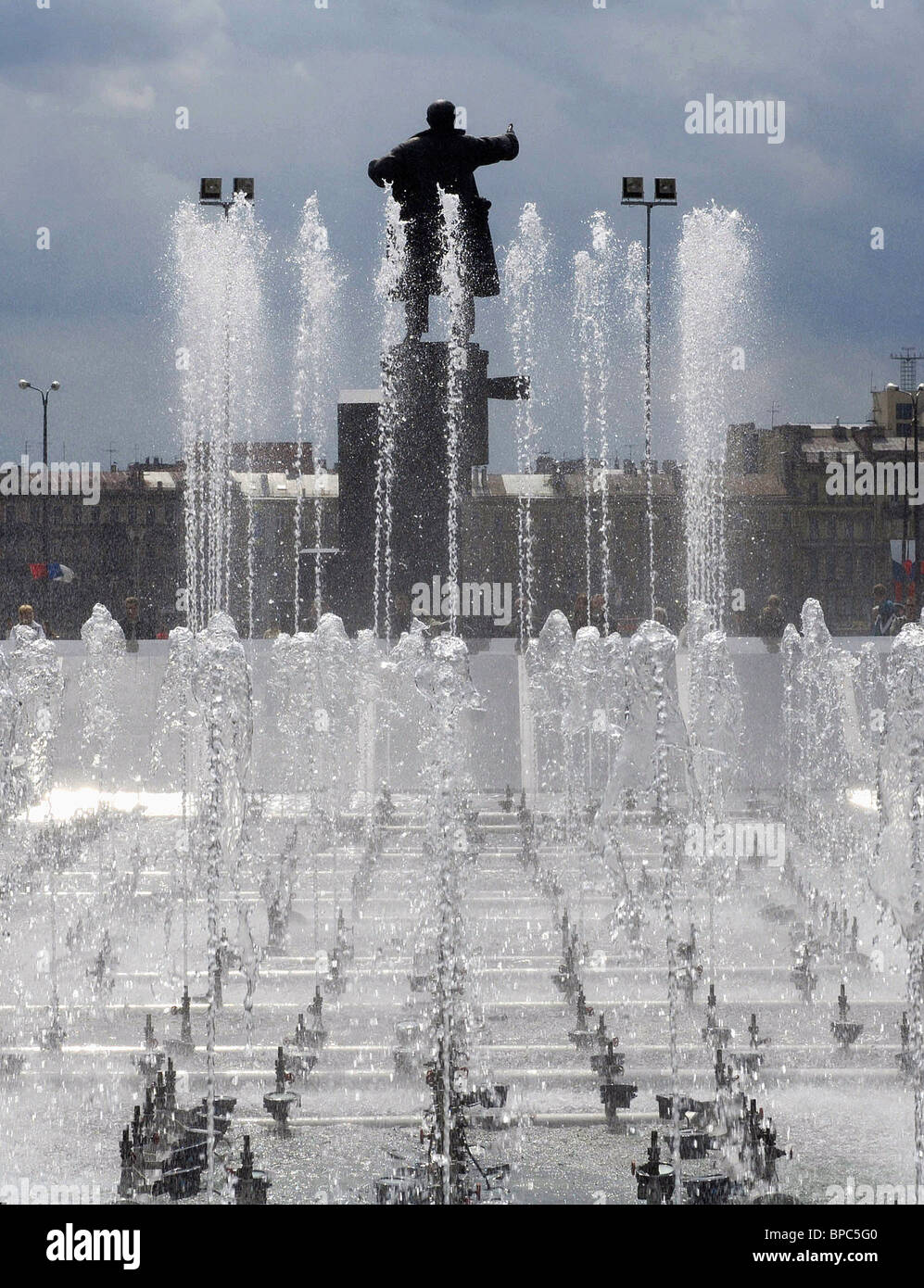 New fountain complex enhances Lenin Square, St. Petersburg Stock Photo