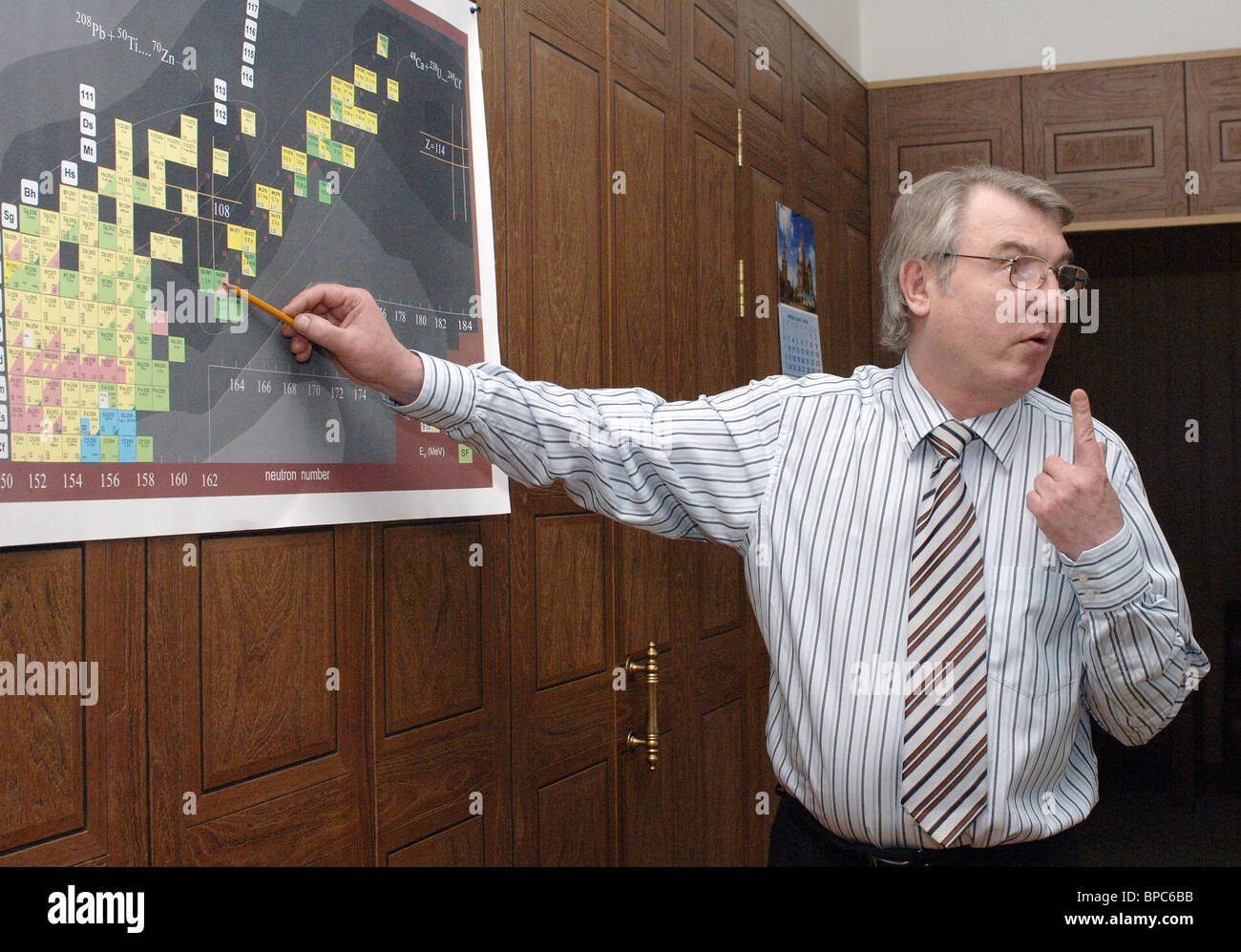 Discovery of new elements to be added to Periodic Table confirmed in Dubna - Stock Image