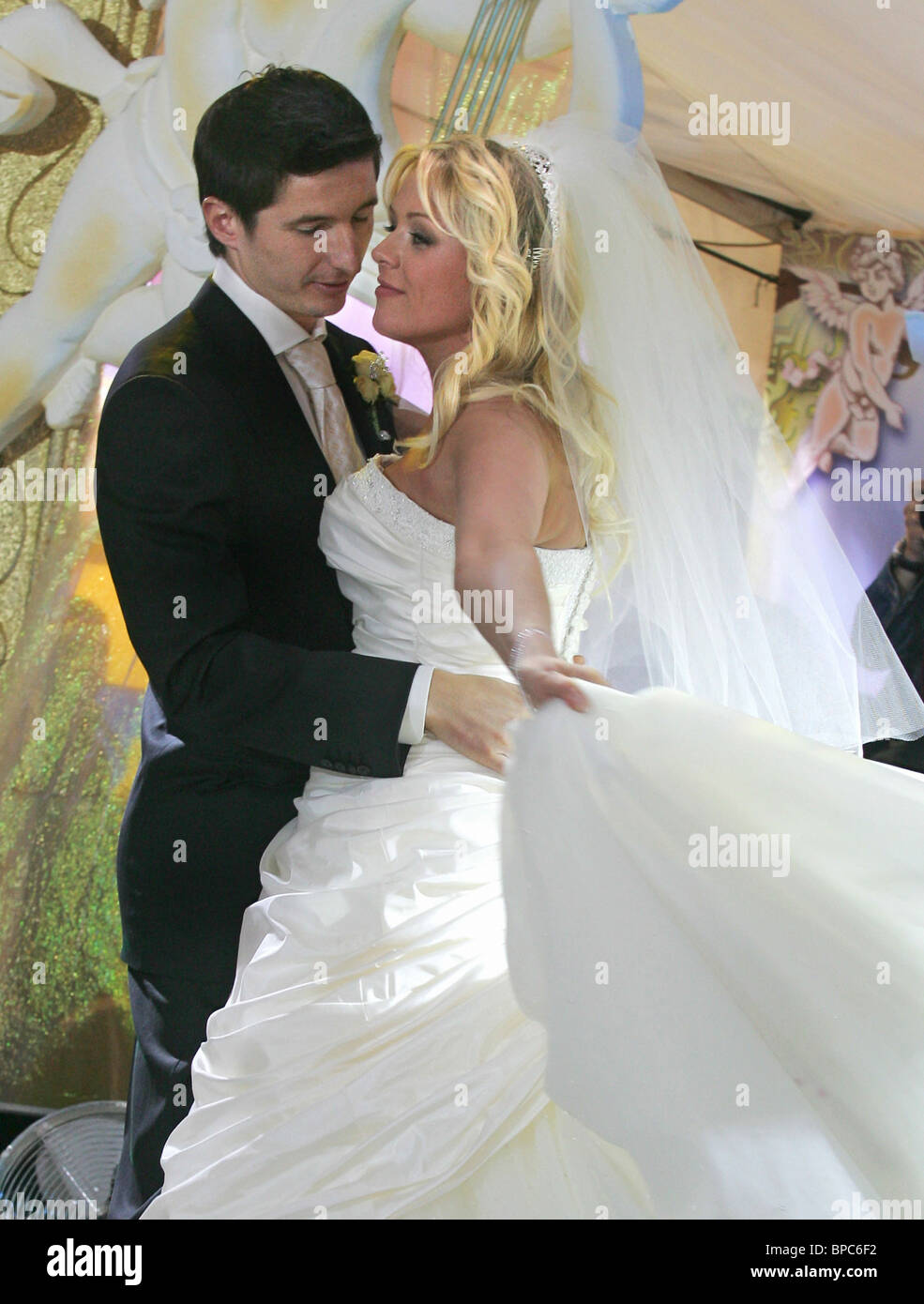 Wedding of CSKA football player Evgeni Aldonin and pop singer Yulia Nachalova - Stock Image