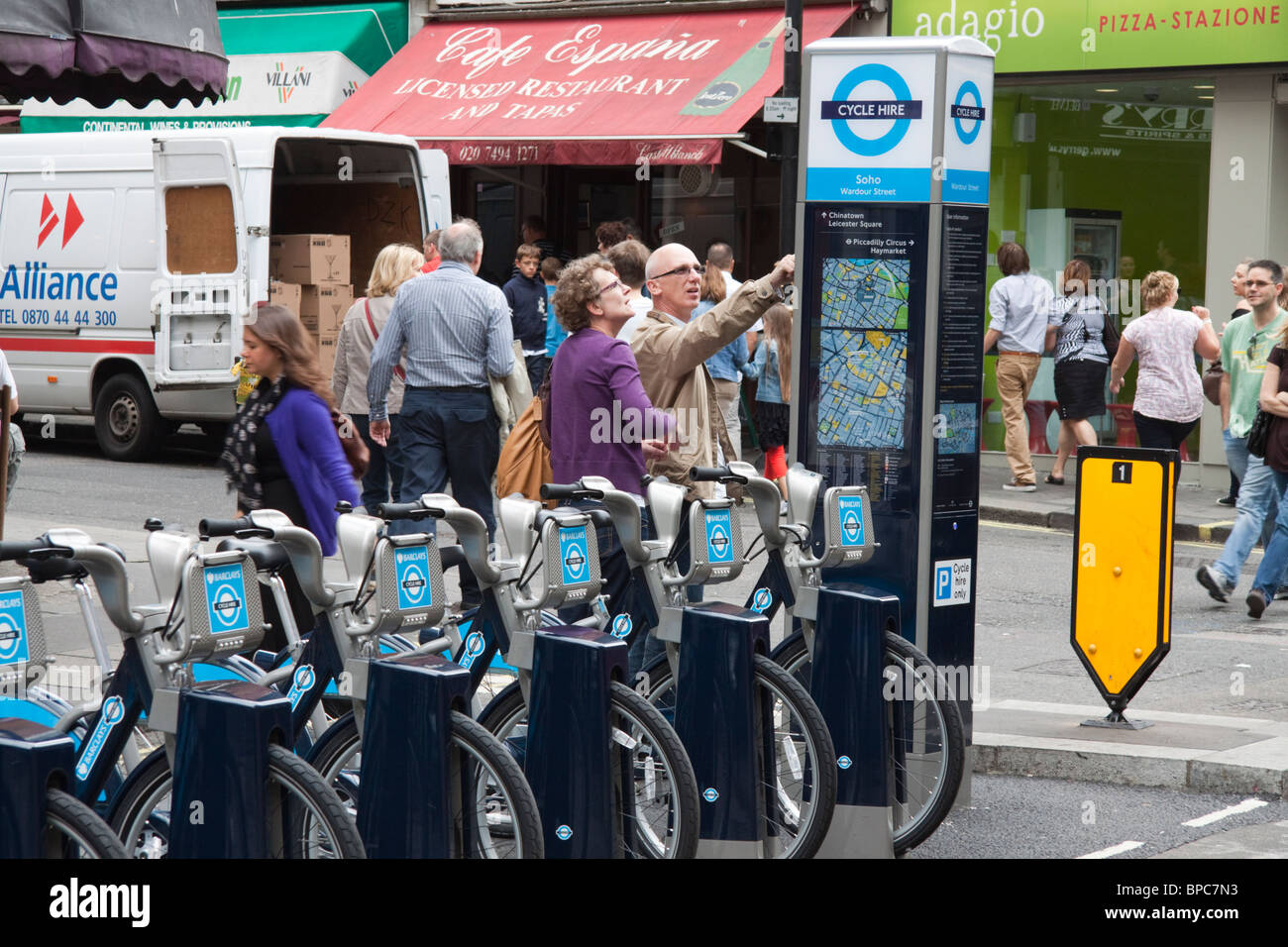 London cycle hire scheme, West End, London, England, UK - Stock Image