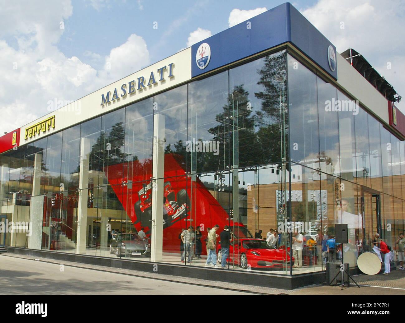 Maserati and Ferrari car dealers centre opens at Barvikha Luxury Village shopping centre - Stock Image