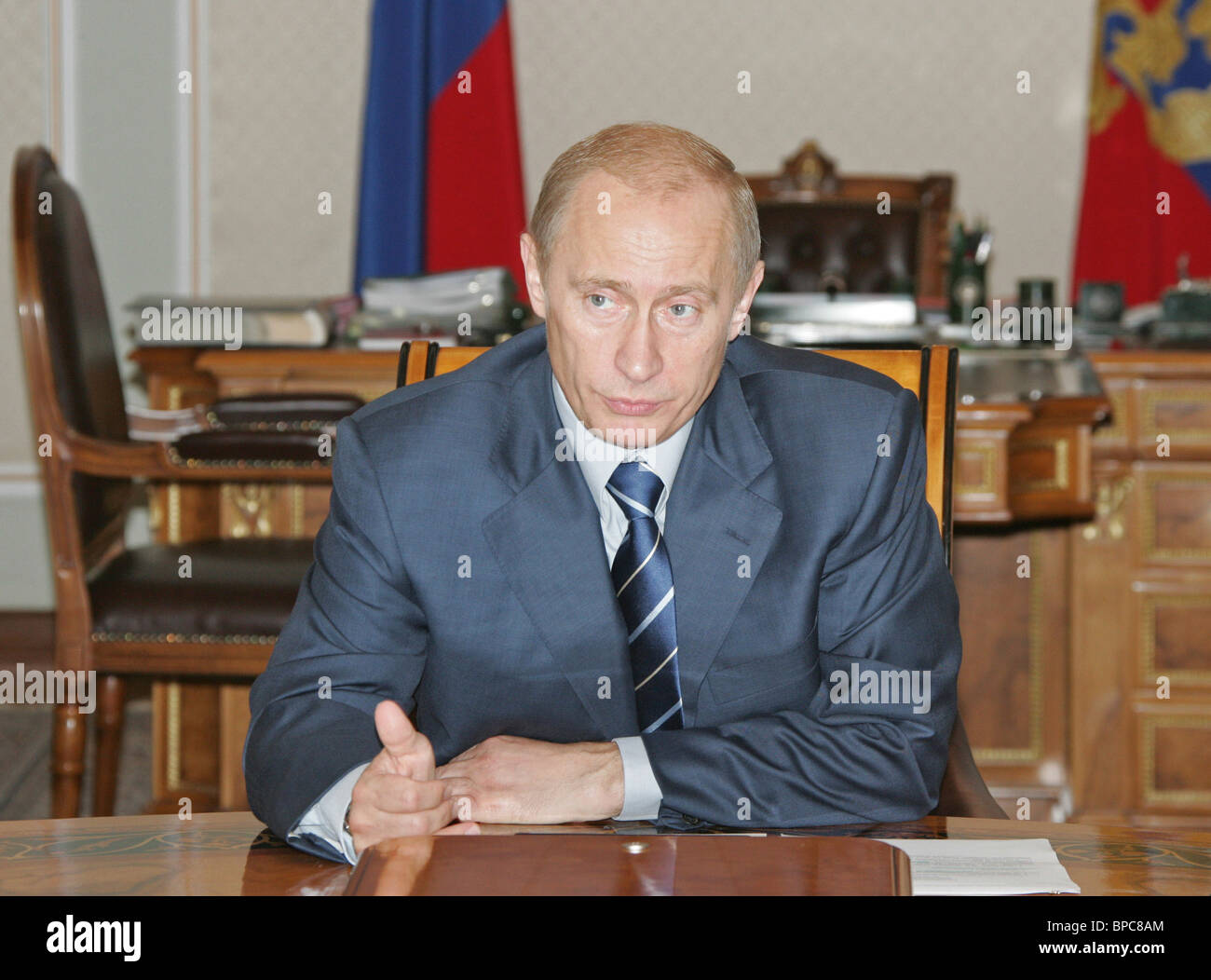 President Vladimir Putin chairs meeting with Security Council members June 30, 2006 - Stock Image