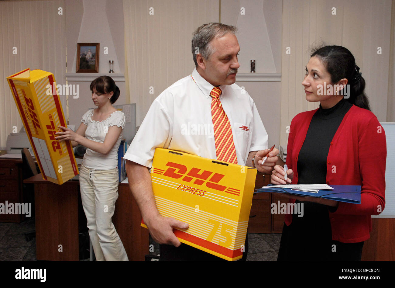 DHL International Express Delivery Service in operation in Russia - Stock Image