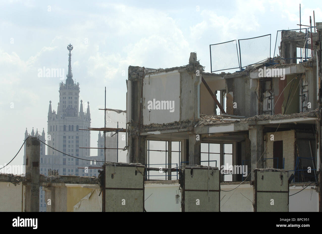 Rossiya Hotel being dismantled in Moscow - Stock Image