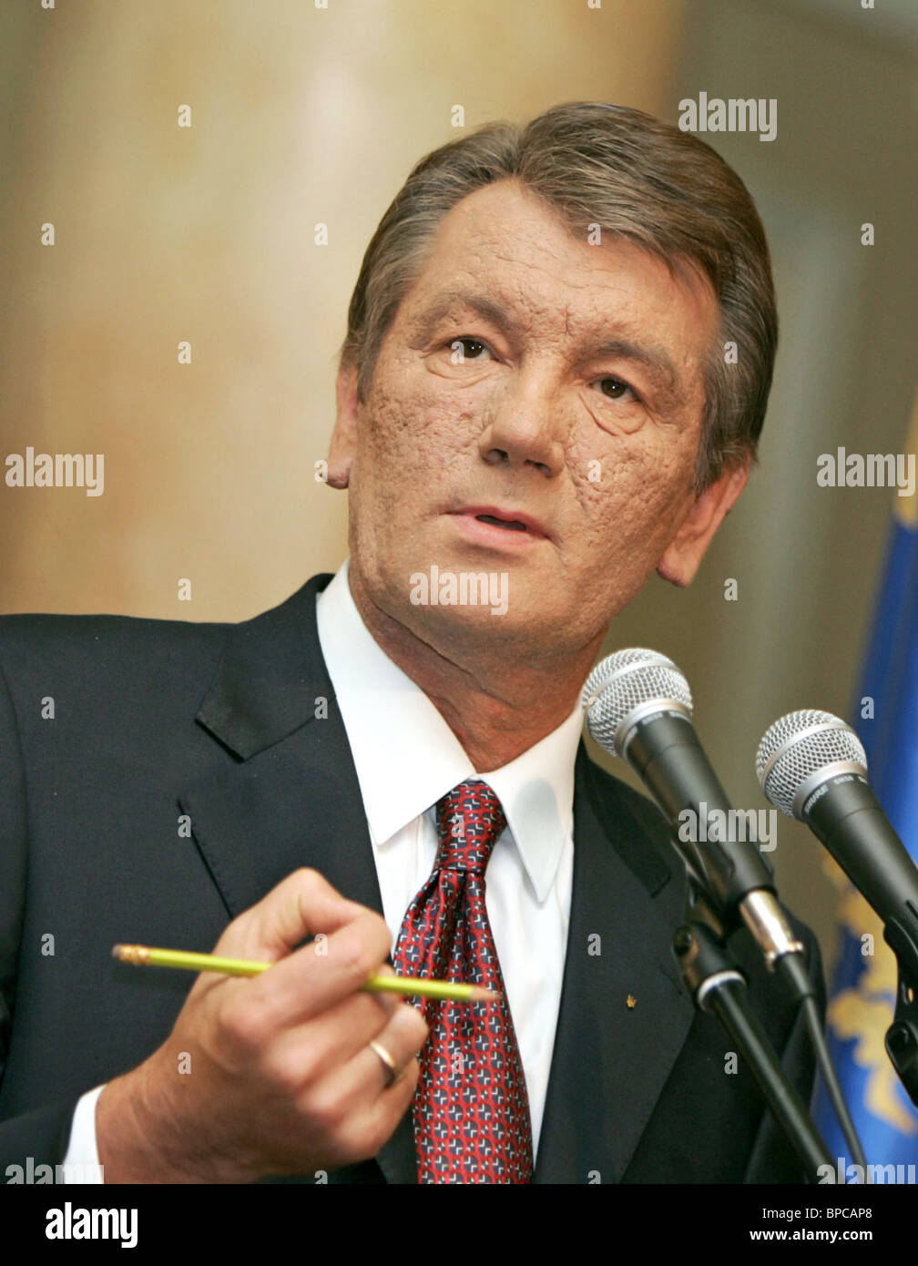 Viktor Yushchenko makes announcement following consultations with Speaker of Parliament and Party of Regions leader - Stock Image