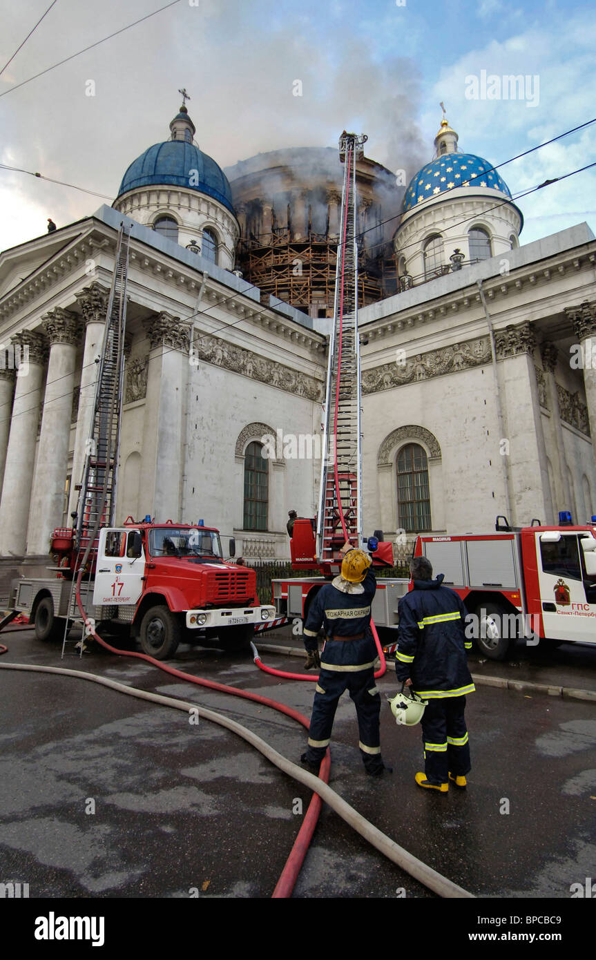 St  Petersburg's Trinity Cathedral on fire Stock Photo: 31005193 - Alamy