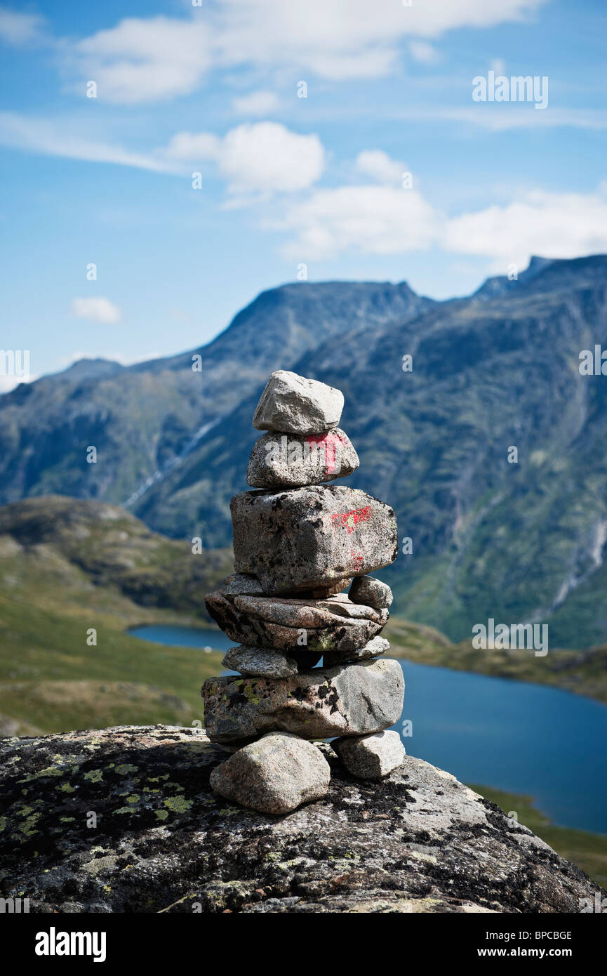Trail marking cairn, Jotunheimen national park, Norway - Stock Image