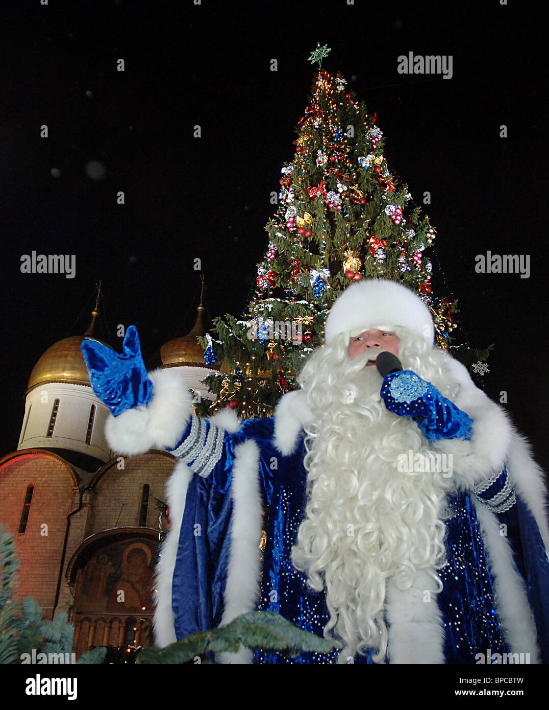 Christmas Show set up in Cathedral Square in Moscow Kremlin Stock Photo
