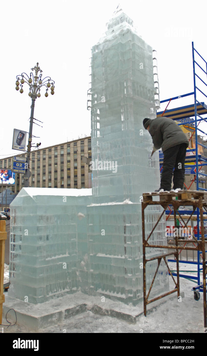 Ice copy of London's Big Ben is being built in Pushkin Square in Moscow - Stock Image