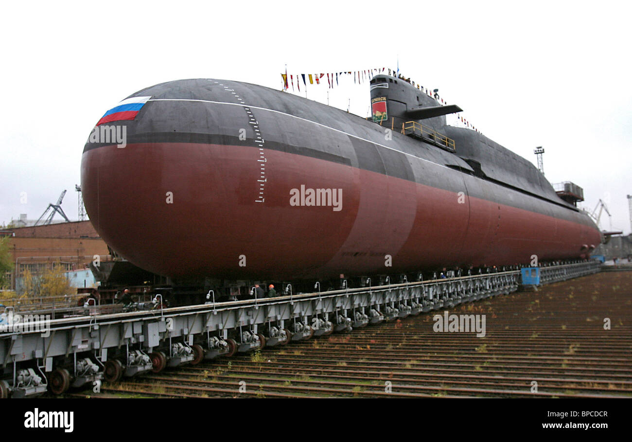 Nuclear-powered submarine K-117 Bryansk launched in Severodvinsk - Stock Image