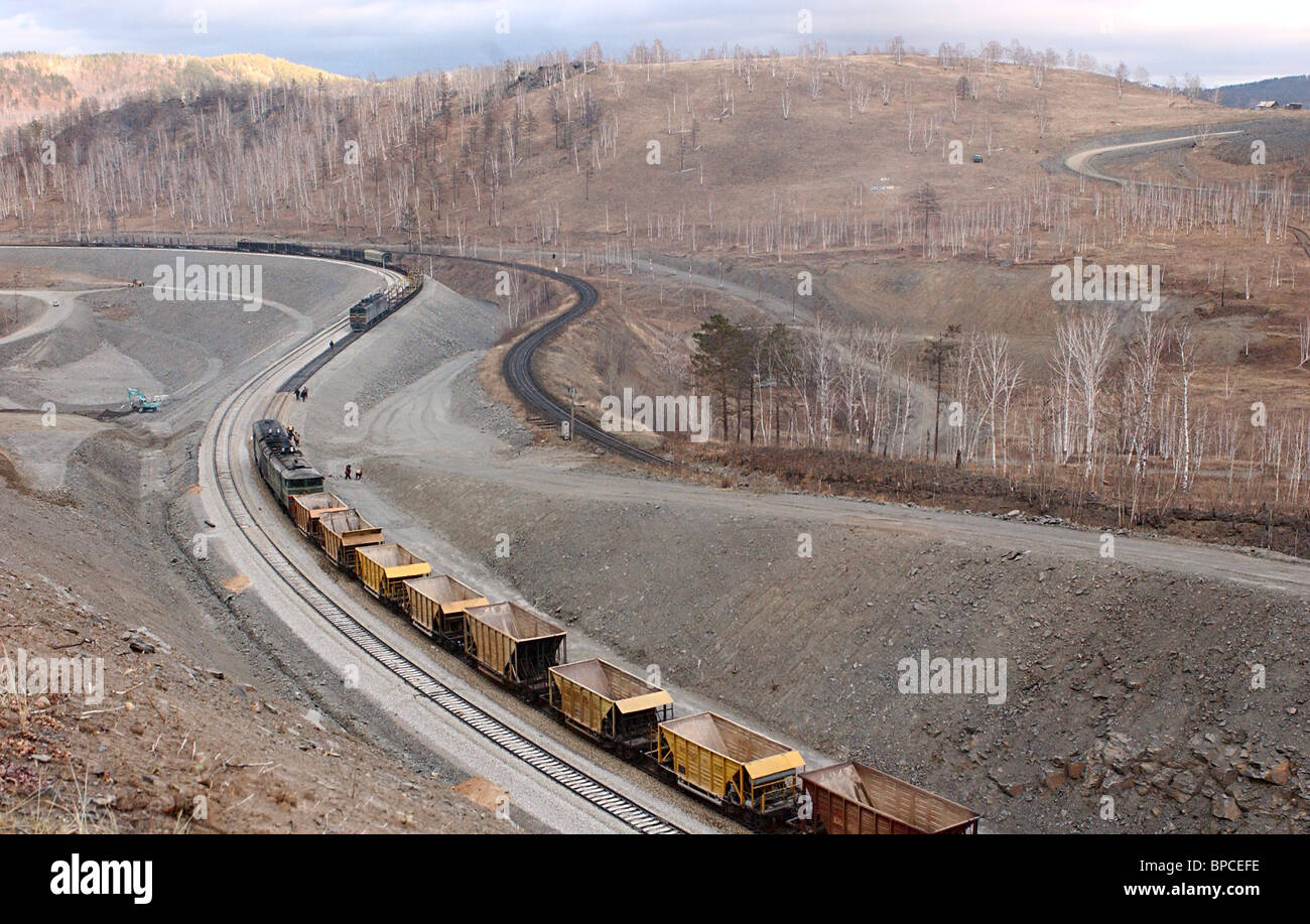 Reconstructed section of Transbaikal Railroad line comes into operation - Stock Image