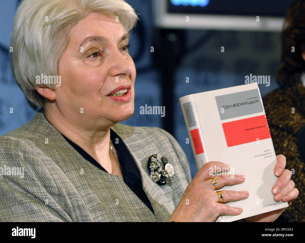 Solzhenitsyn's wife presents published volumes of first full collection of Solzhenitsyn's works - Stock Image