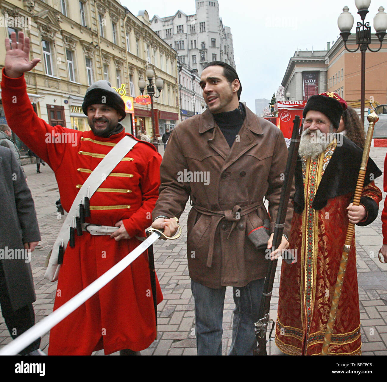 Highlander TV series star Adrian Paul arrives in Moscow to present Peacemaker Award - Stock Image