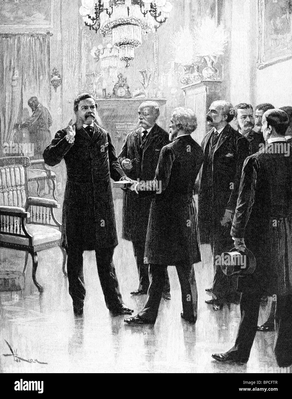 Chester Alan Arthur, elected the 21st President of the United States, succeeded to the president after Garfield's - Stock Image