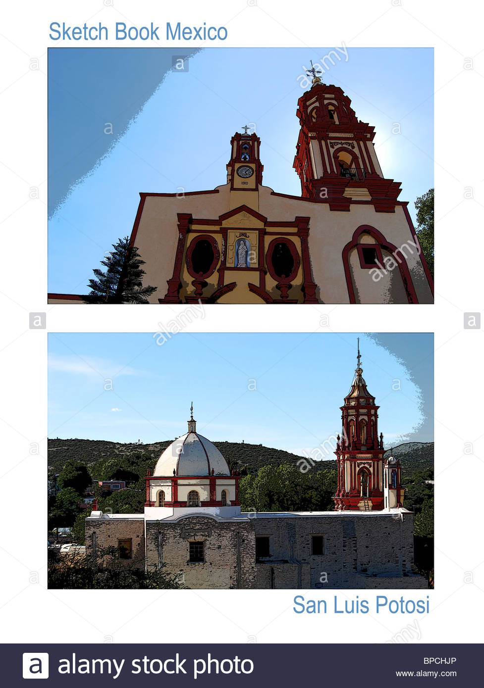Travel poster San Luis Potosi Mexico photo manipulation two church images Armadillo de los Infante front and side - Stock Image