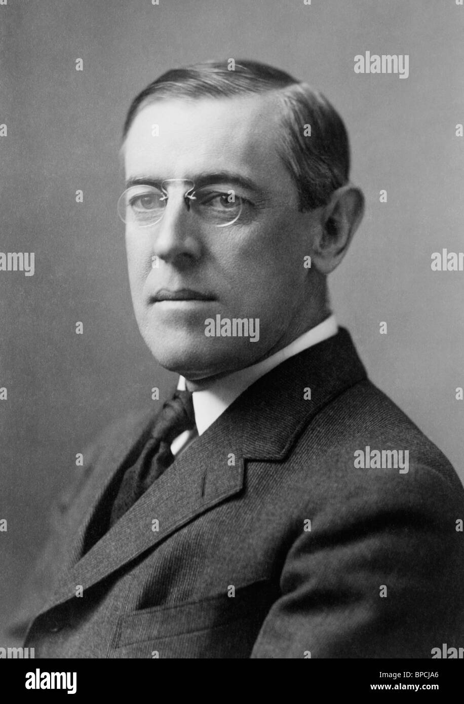 Portrait photo circa 1908 of Woodrow Wilson (1856 - 1924) - the 28th US President (1913 - 1921). - Stock Image