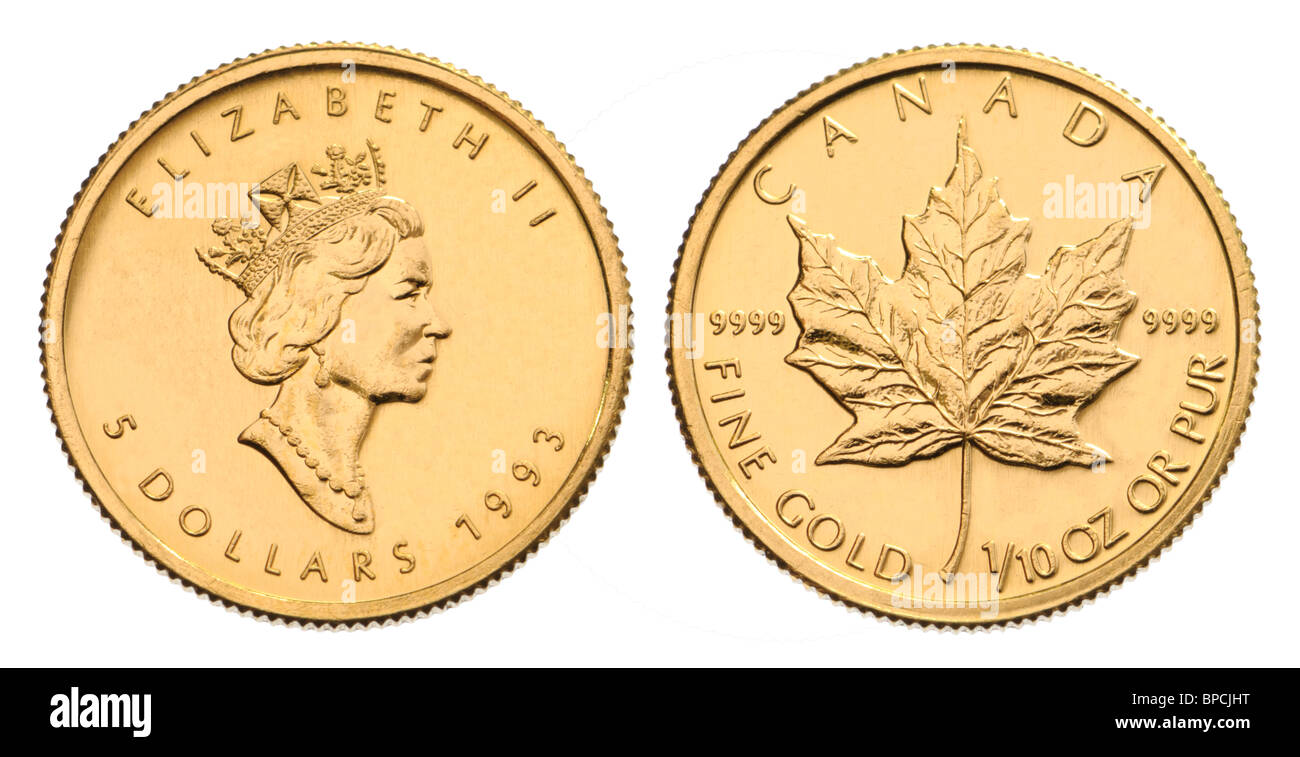 Canadian Gold Coin - 1/10th Ounce Maple Leaf - Stock Image