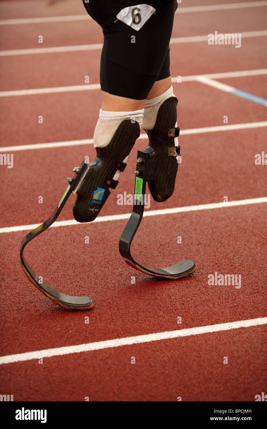 Oscar PISTORIUS, 400m Heat B at Aviva London Grand Prix, Crystal Palace, London.  August 2010. Stock Photo