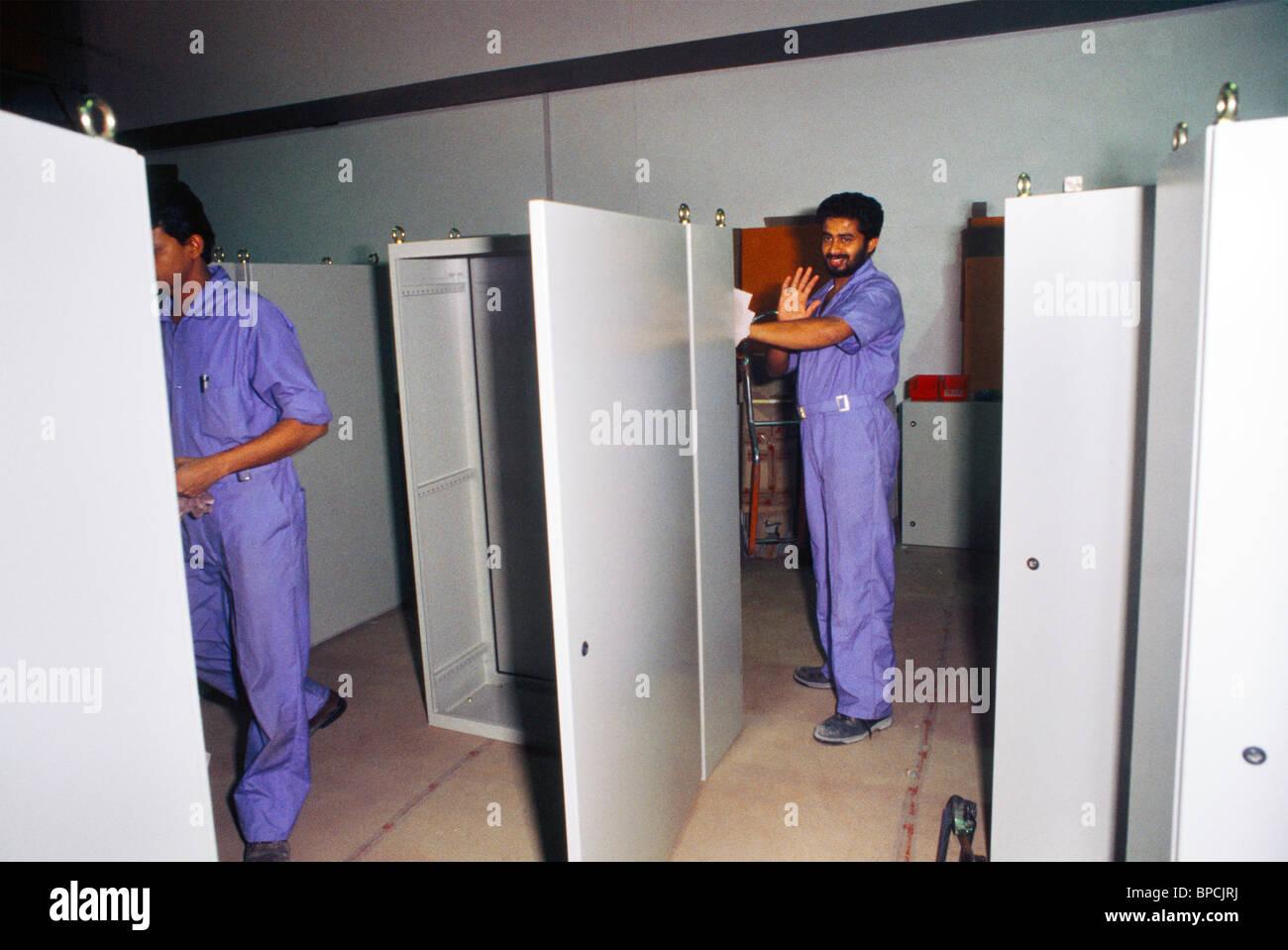 Dubai UAE Jebel Ali Free Trade Zone Metal Box Factory Finishing Cabinets Stock Photo