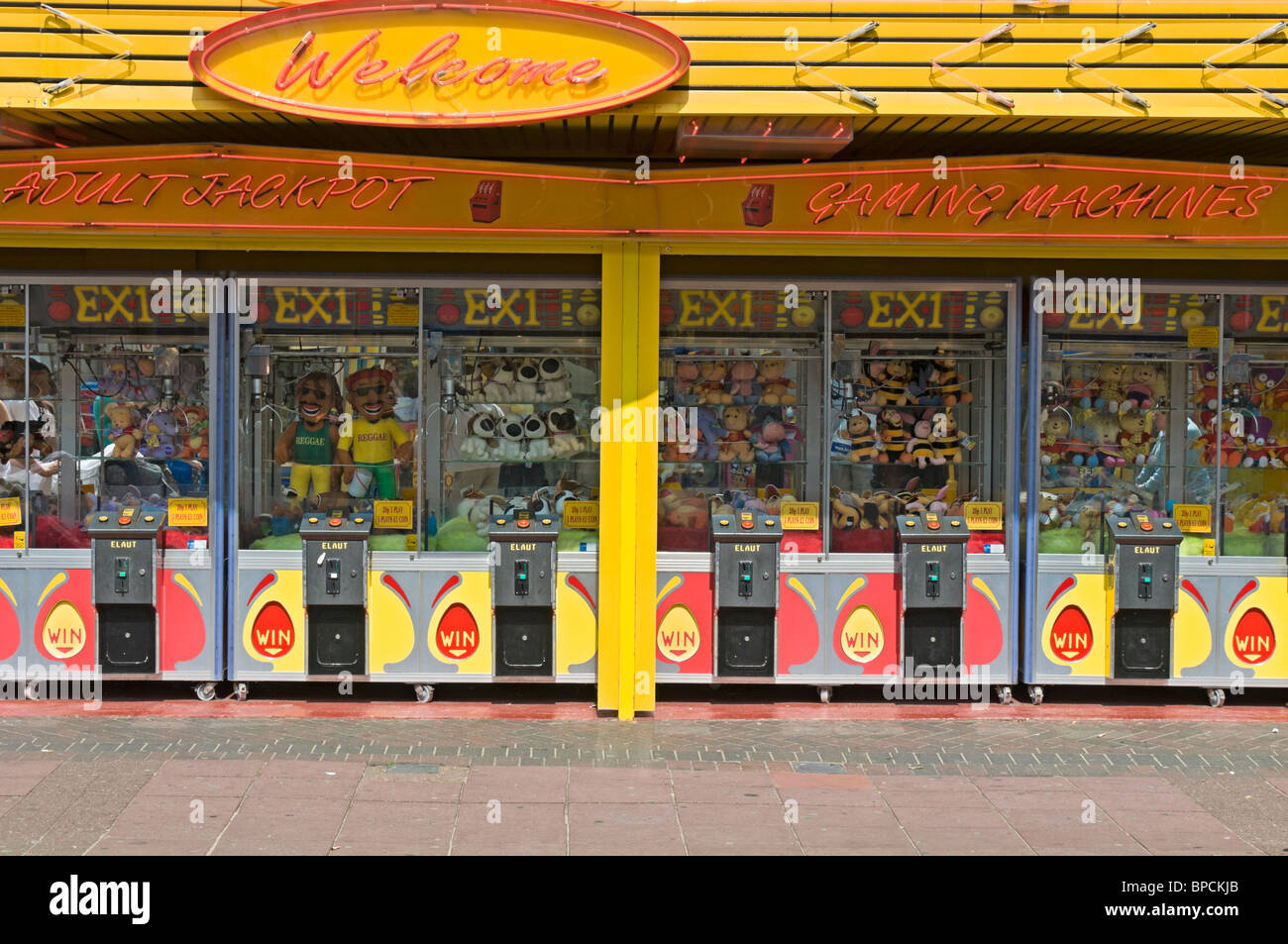 Gaming machines on the pavement, Clacton on Sea, United Kingdom Stock Photo
