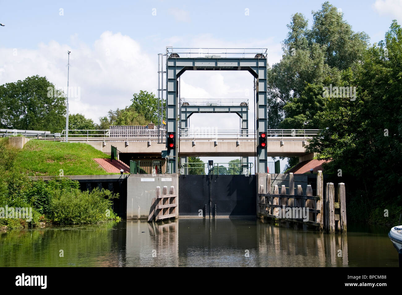 Lock Kampen Overijssel port harbor Boat Netherlands - Stock Image
