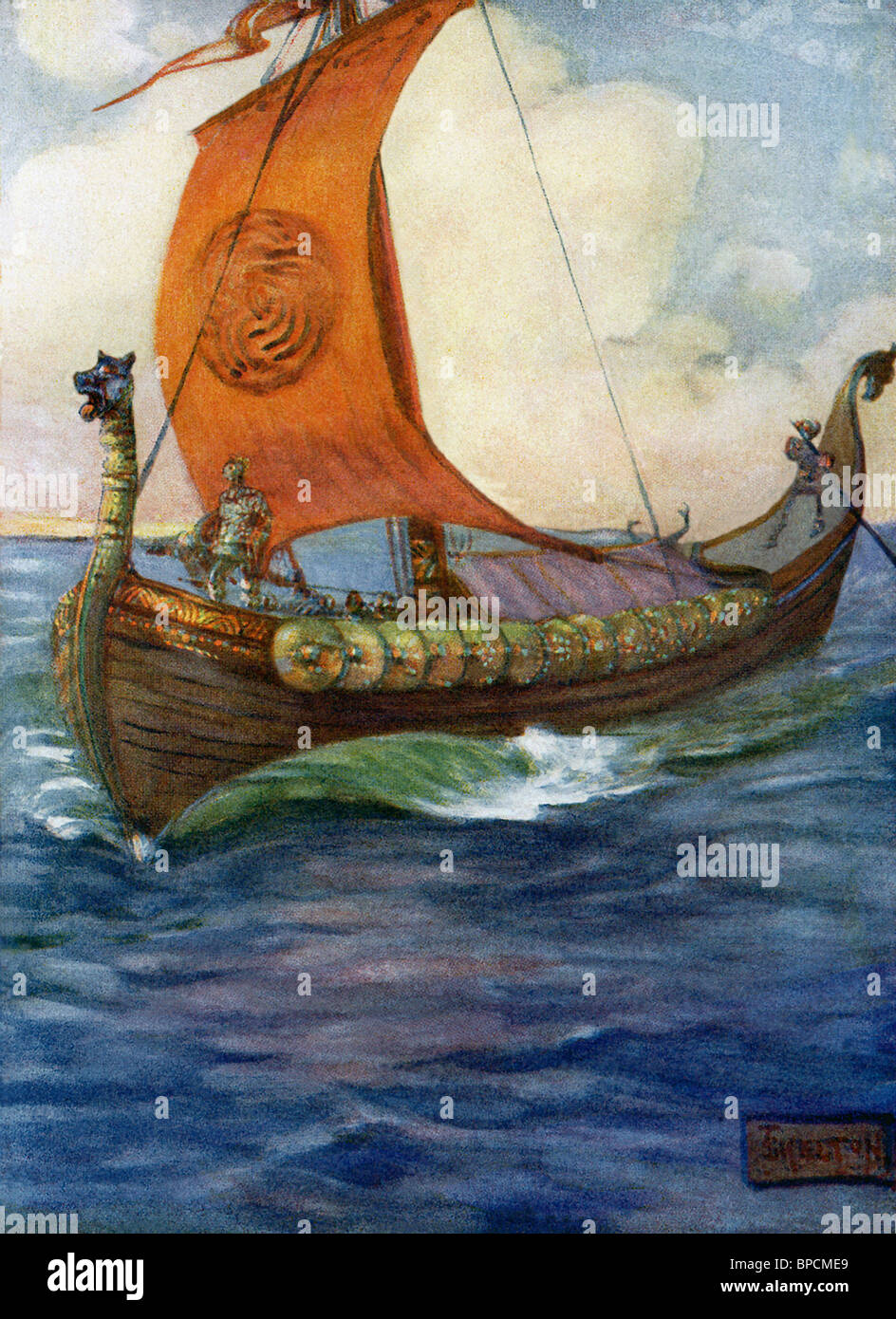 Beowulf set sail from Geatland (southern Sweden) for Daneland - the largest island of Denmark. with 14-18 Geat warriors. - Stock Image