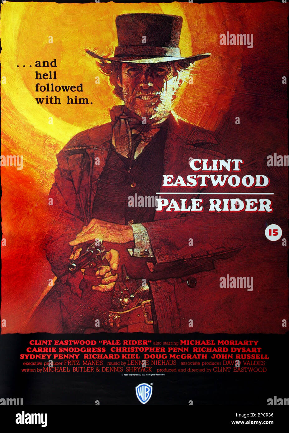 clint eastwood poster pale rider 1985 stock photo
