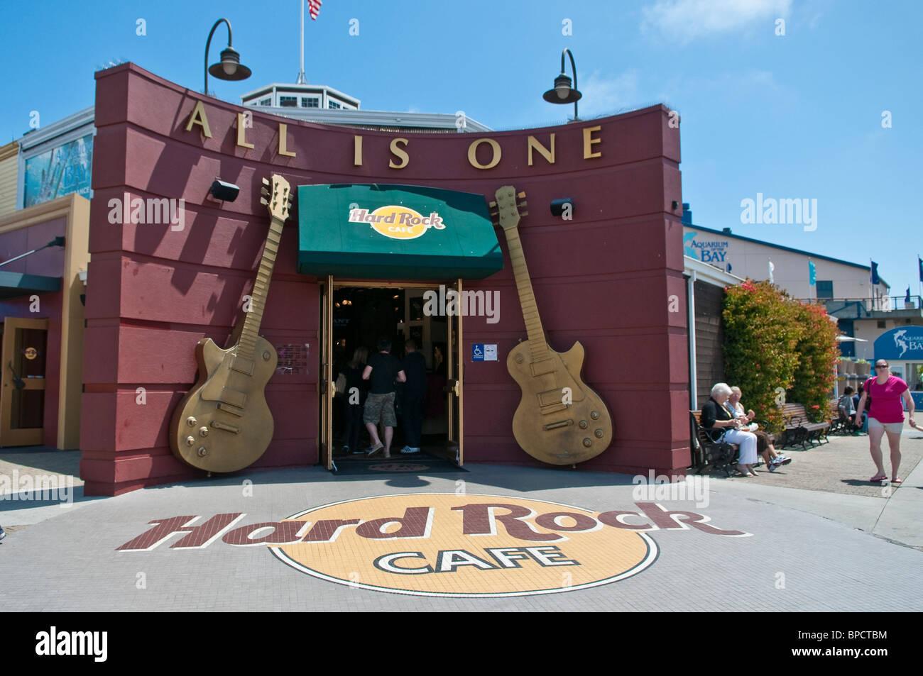 Hard Rock Cafe, Pier 39, Fishermans Wharf, San Francisco, Californien, USA - Stock Image
