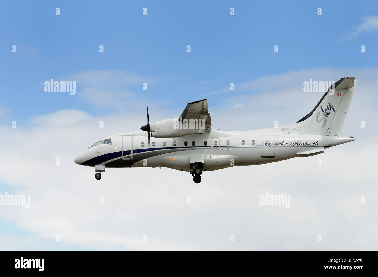 Dornier 328-110 of Skywork-Airlines, Switzerland arrives at RAF Fairford to support the Patrouille Suisse aerobatic - Stock Image