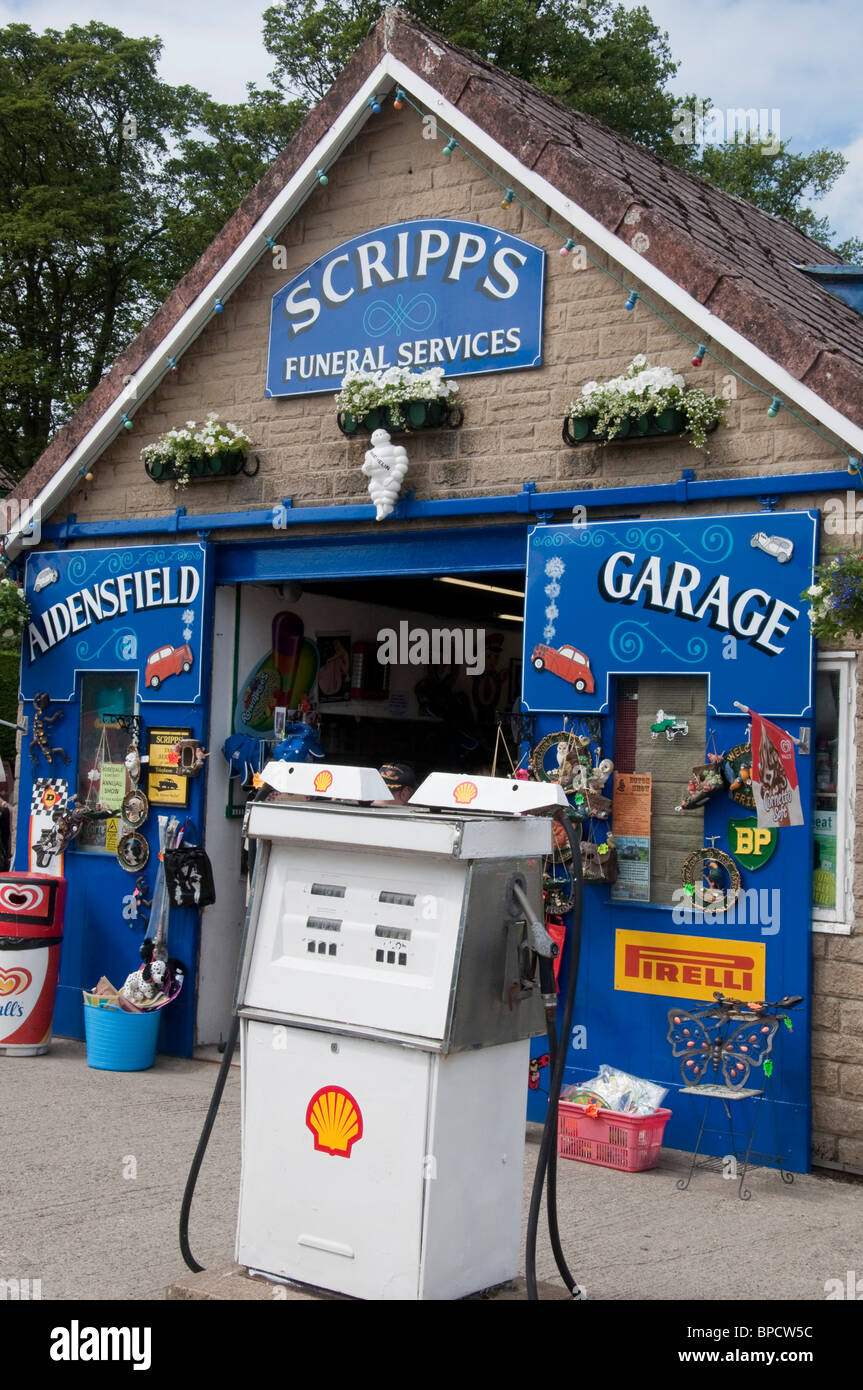 Scripps Garage Aidensfield one of the locations used when filming ITV's 'Heartbeat'. A British television - Stock Image